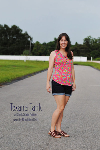 Texana Tank sewing pattern for women by Blank Slate patterns sewn by Dandelion Drift