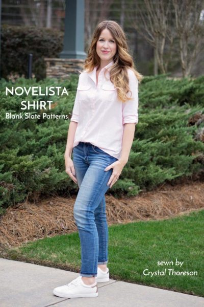 Novelista Shirt by Blank Slate Patterns sewn by Crystal Thoreson