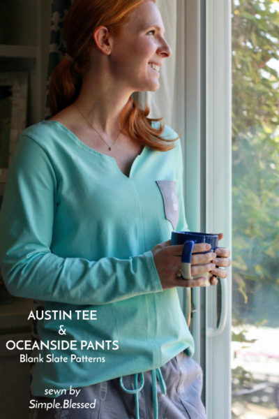 Austin Tee and Oceanside Pants by Blank Slate Patterns sewn by Simple.Blessed