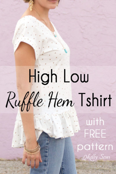 Add a ruffled hem to the Blanc tshirt - sew a t-shirt with a ruffle hem using this pattern and tutorial from Blank Slate Patterns