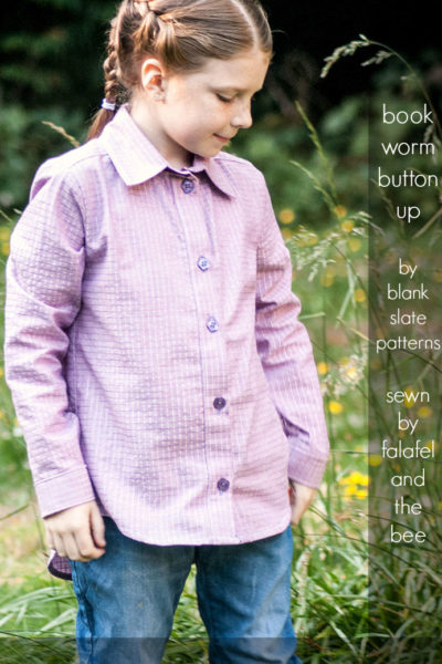 Bookworm Button Up by Blank Slate Patterns sewn by Falafel and the Bee