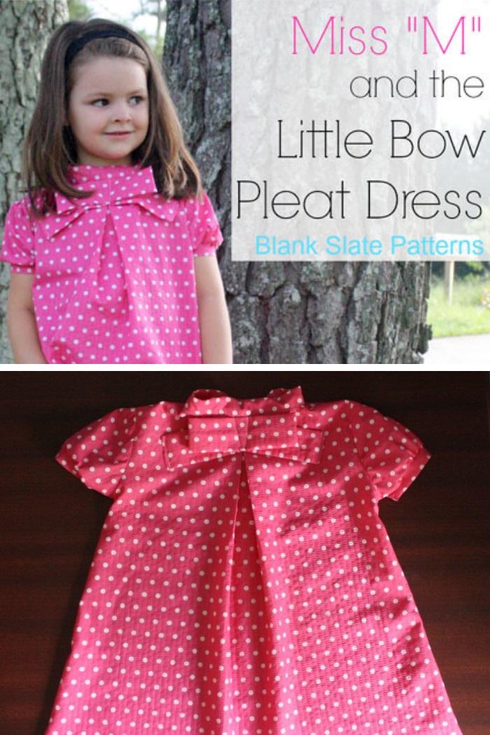 Little Bow Pleat Dress by Blank Slate Patterns sewn by Little Kids Grow