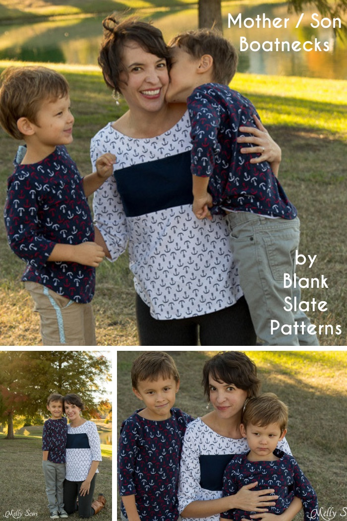 Mother-Son Boatneck Tops by Blank Slate Patterns