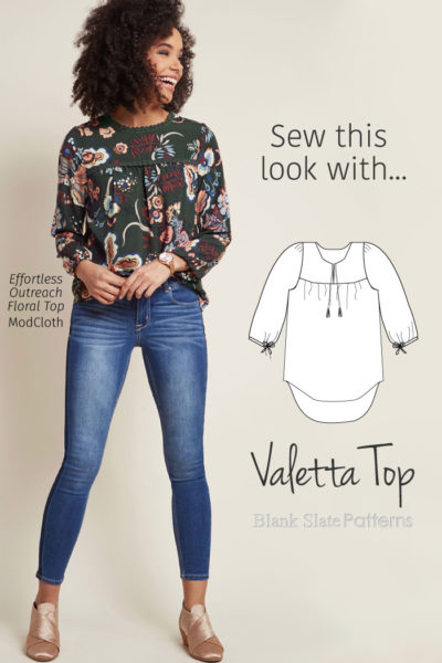 Sew This ModCloth peasant top Look with Blank Slate Patterns Valetta Top sewing pattern