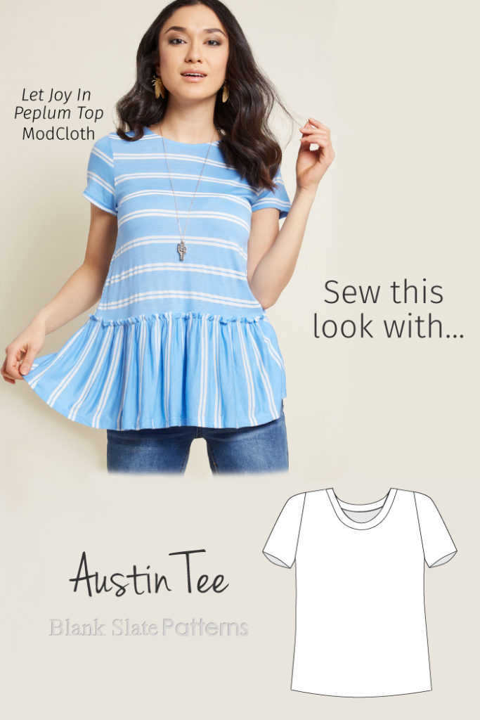 Sew This ModCloth Peplum Top Look with Blank Slate Patterns' Austin Tee sewing pattern