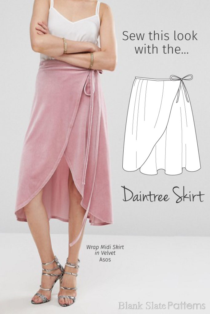 Sew This Look | Wrap Midi Skirt in Velvet from Asos | Sew This Look with the Daintree Skirt pattern from Blank Slate Patterns