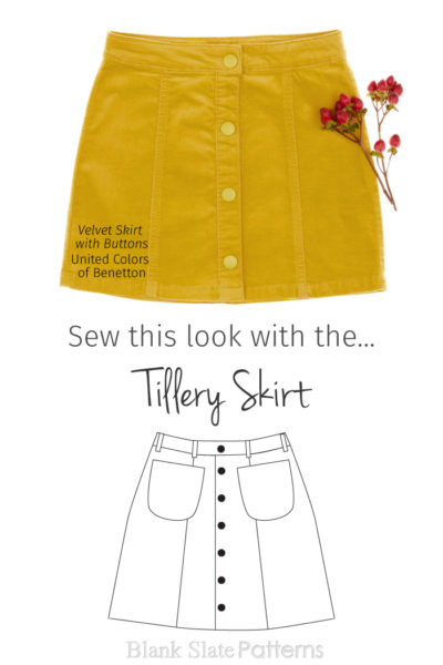 Sew This Look | Velvet Mini from Benetton | Sew This Look with the Tillery Skirt pattern from Blank Slate Patterns